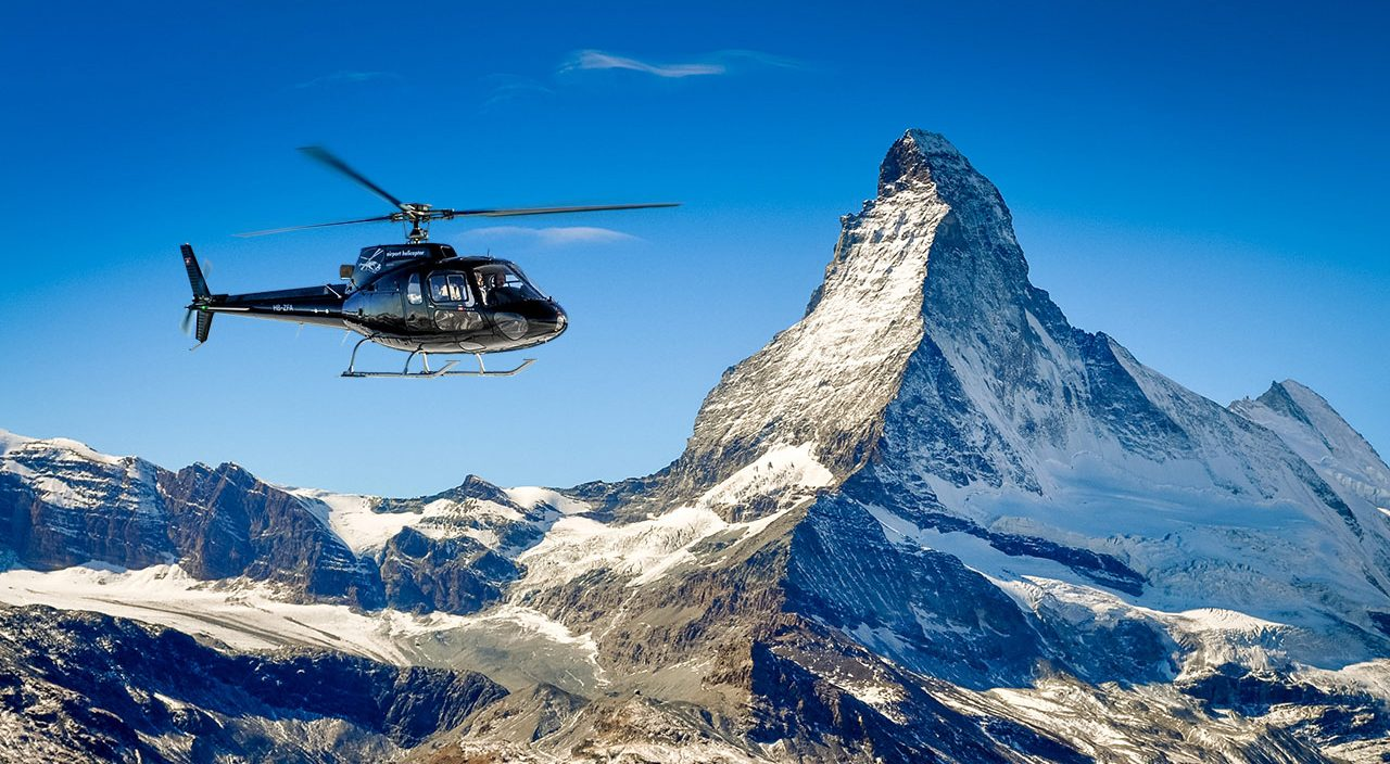 Matterhorn helicopter flight - amazing destinations to travel around in Switzerland
